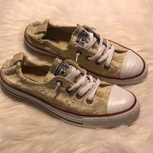 Woman's off white slip on converse